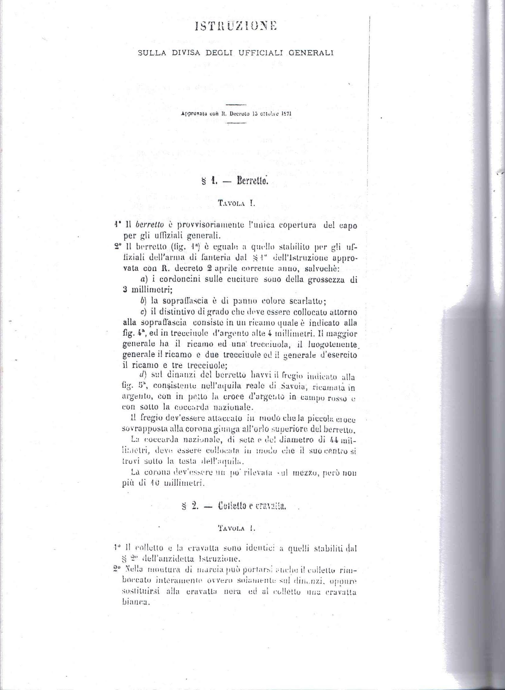 Berretto da generale di corpo d 39 armata mod 1871 - La tavola degli ufficiali ...