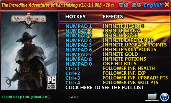 The Incredible Adventures of Van Helsing 1.0-1.1.00B +26 Trainer [FliNG]