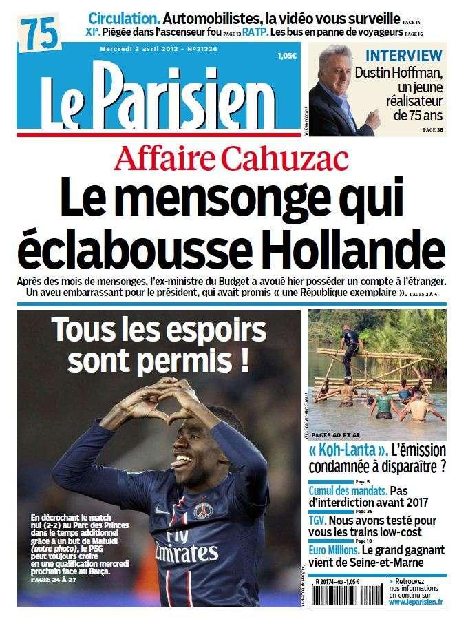 Le Parisien & Cahier Paris du Mercredi 03 Avril 2013