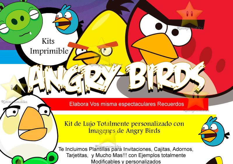 Tarjeta invitación Angry Birds - Imagui