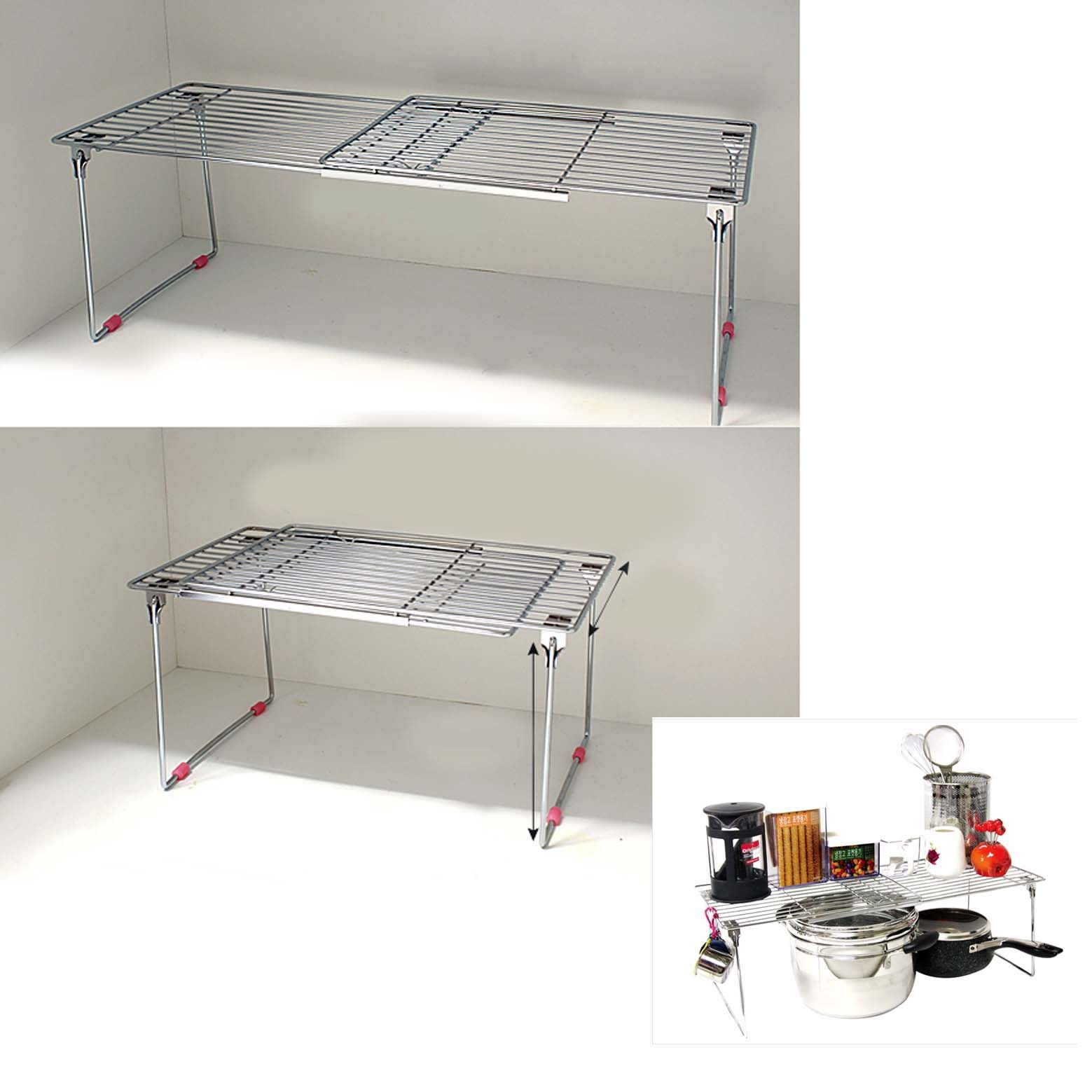 new stainless extendable under sink organizer storage shelf sliding kitchen rack ebay. Black Bedroom Furniture Sets. Home Design Ideas
