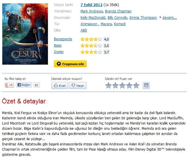 Cesur - 2012 3D BluRay 1080p Half-SBS DuaL MKV indir